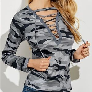 Camo Lace-up Top